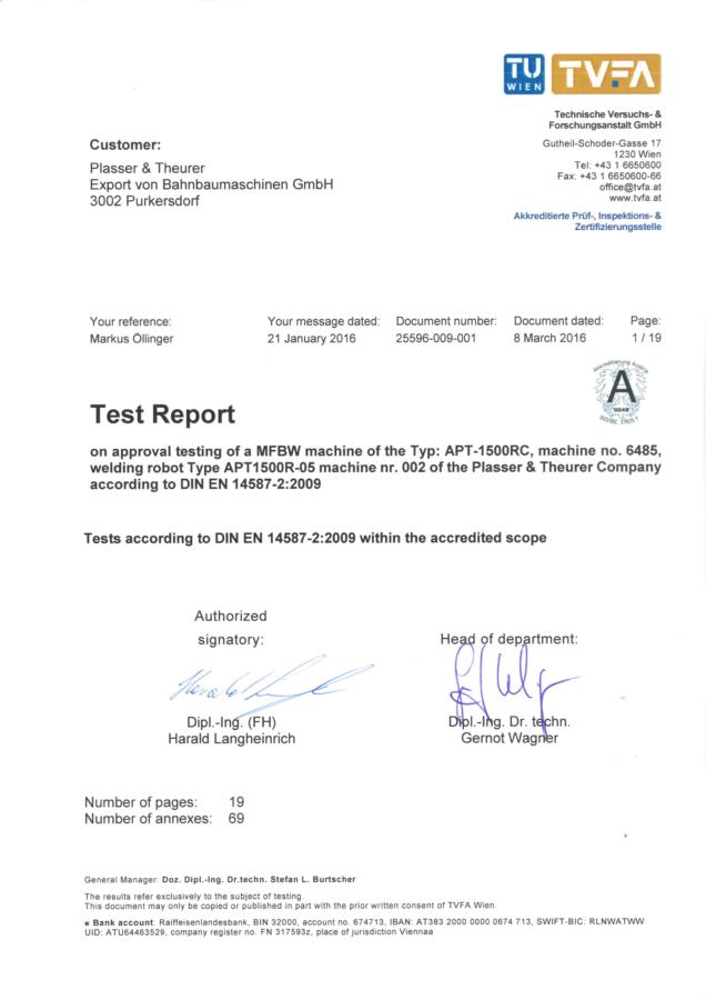 DIN EN 14587-2:2009 test report