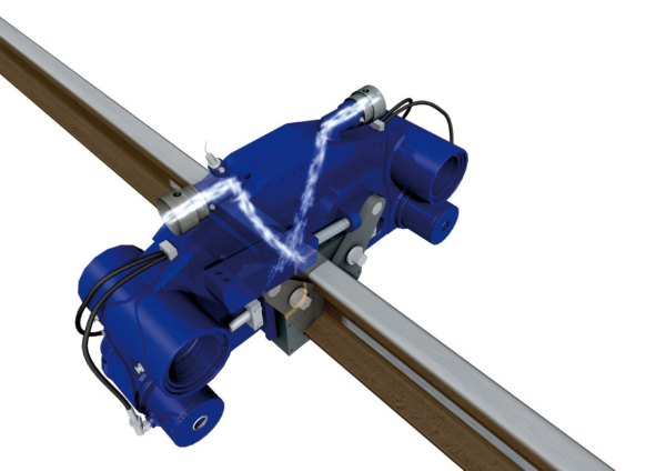 Blowing compressed ambient air directly onto the rail head accelerates the cooling process on head-hardened rails.