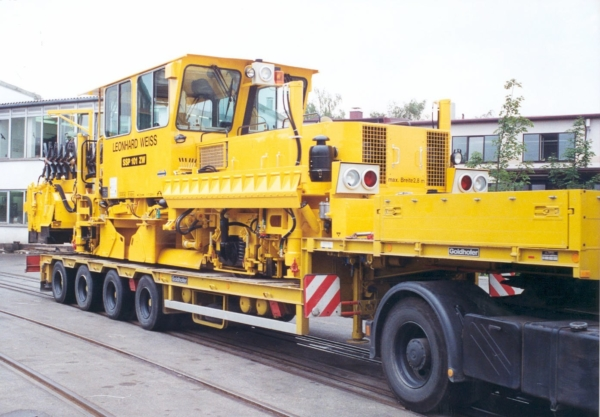 Loading the SSP101ZW onto a flat-bed trailer