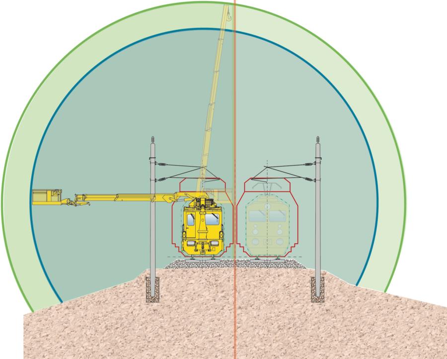 Versatile application thanks to freely moving elevating work platform and rail loading crane