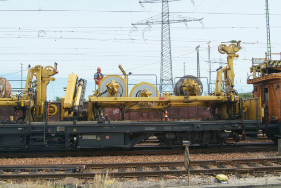 Winch unit of the FUM 100.128 catenary installation machine FUM 100.128 in Germany.