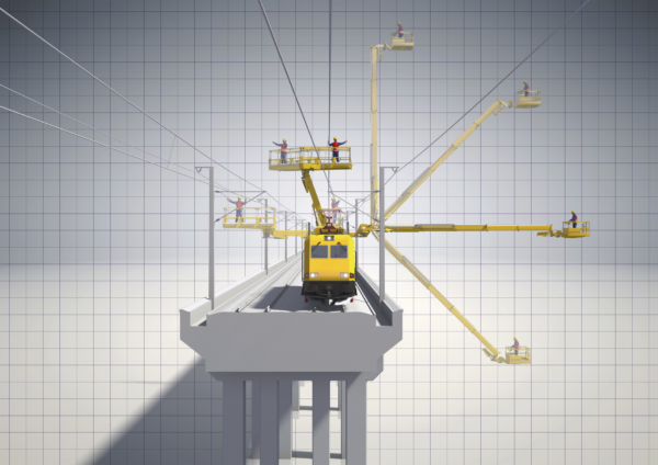 Depending on the areas to be reached, the machine can be equipped with different work platforms and railway loading cranes.
