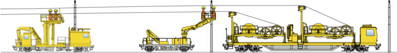Various machines are deployed for the different stages of installation.