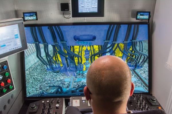 Today, simulators are used to safely train the cost-efficient operation of a tamping machine